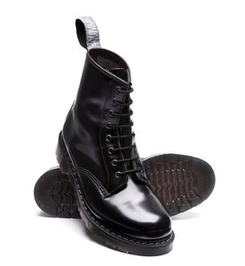 Solovair Black Hi Shine 8 Eyelet Boot Limited Edition Made In England