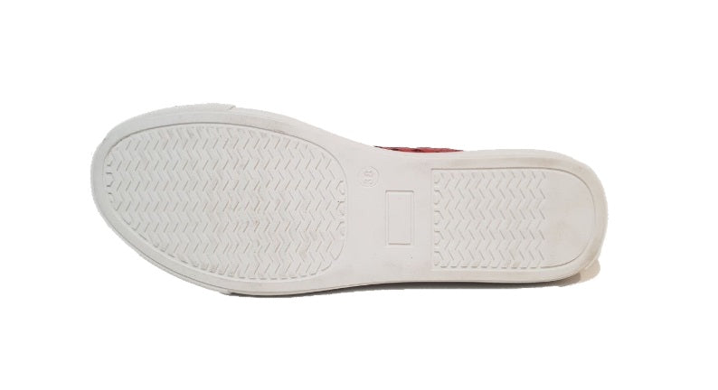 Sala Europe Hat Rose Red Slip On Closed Toe Perforated Made In Turkey