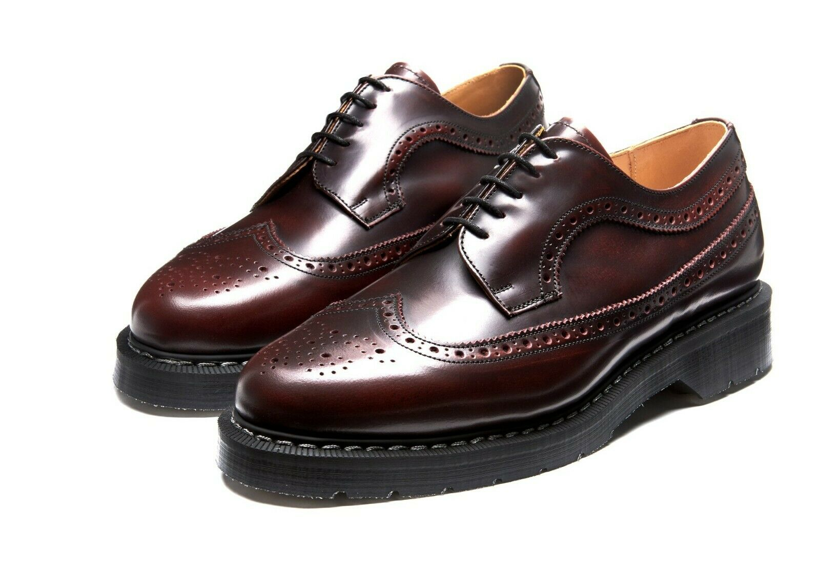 Solovair Burgundy Rub-off 5 Eyelet Hi Shine American Brogue Shoe Made In England