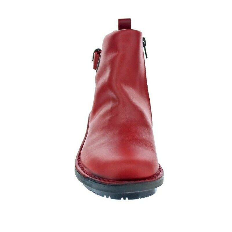 Fly London Ladies Boots Fico Red Ankle Boot Zip Made In Portugal