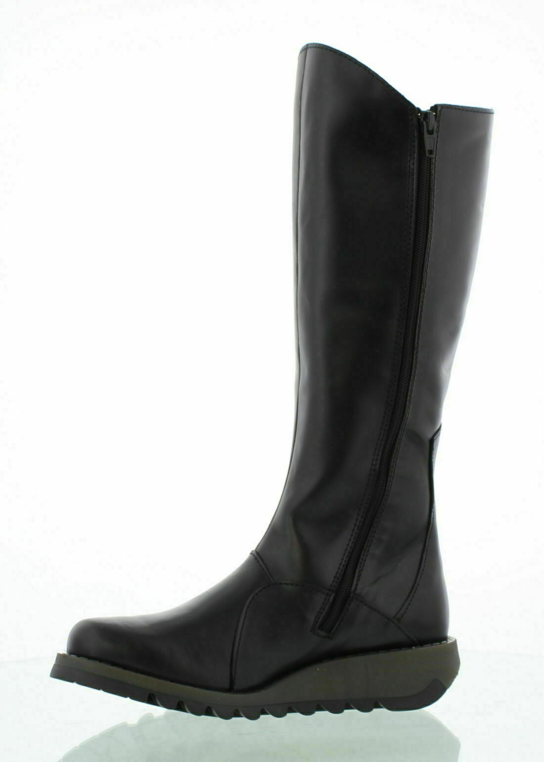 Fly London Ladies Boots Mol 2 Black  Leather Zip Up Knee High Made In Portugal