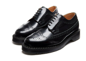 Solovair Black Hi-Shine 5 Eyelet American Brogue Shoe Made In England