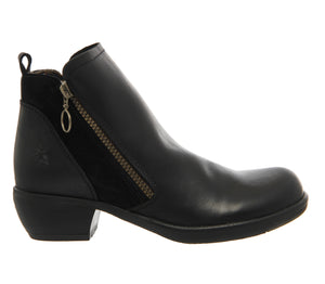 Fly London Ladies Boots Meli Black Ankle Boot Zip Made In Portugal