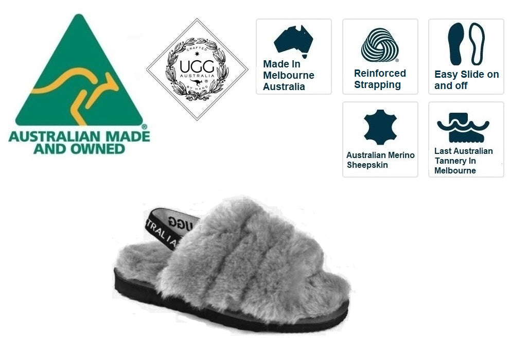 Ugg Australia Grey Bella Slide Sheepskin Open Toe Made In Australia