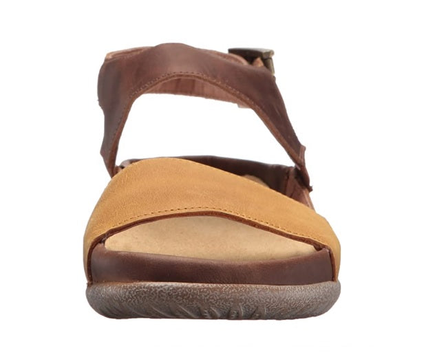 Naot Haki Oil Dune Saddle Brown Leather Ladies Sandals Made In Israel