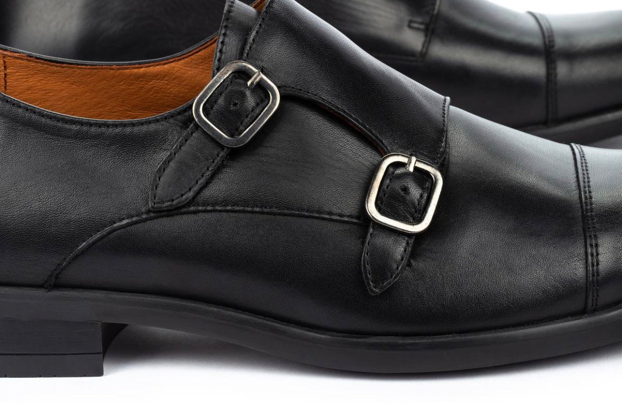 Pikolinos M7J-3148 Black Mens Double Buckle Monk Made In Spain