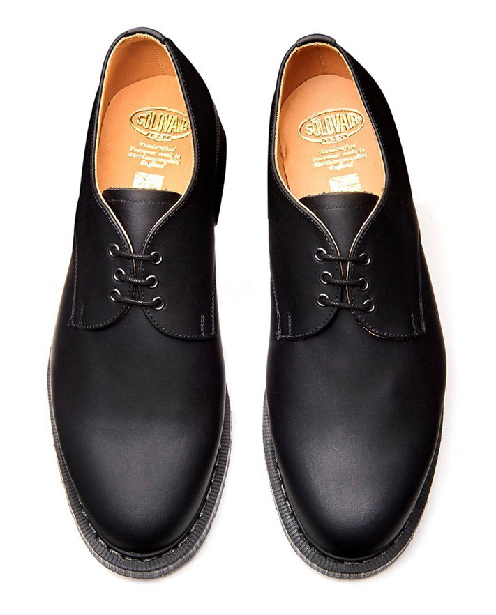 Solovair Black Greasy Leather 3 Eyelet Gibson Shoe Made In England