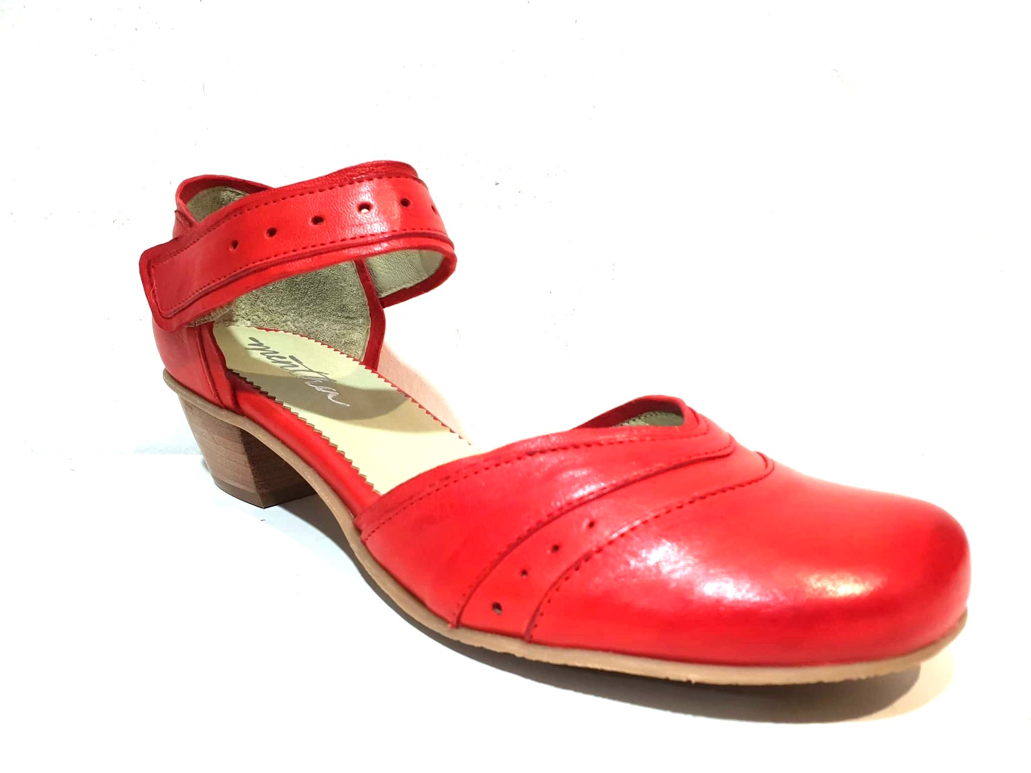 Mentha Andie Red Leather Women's Court Shoes Mary Jane Velcro Made In Portugal