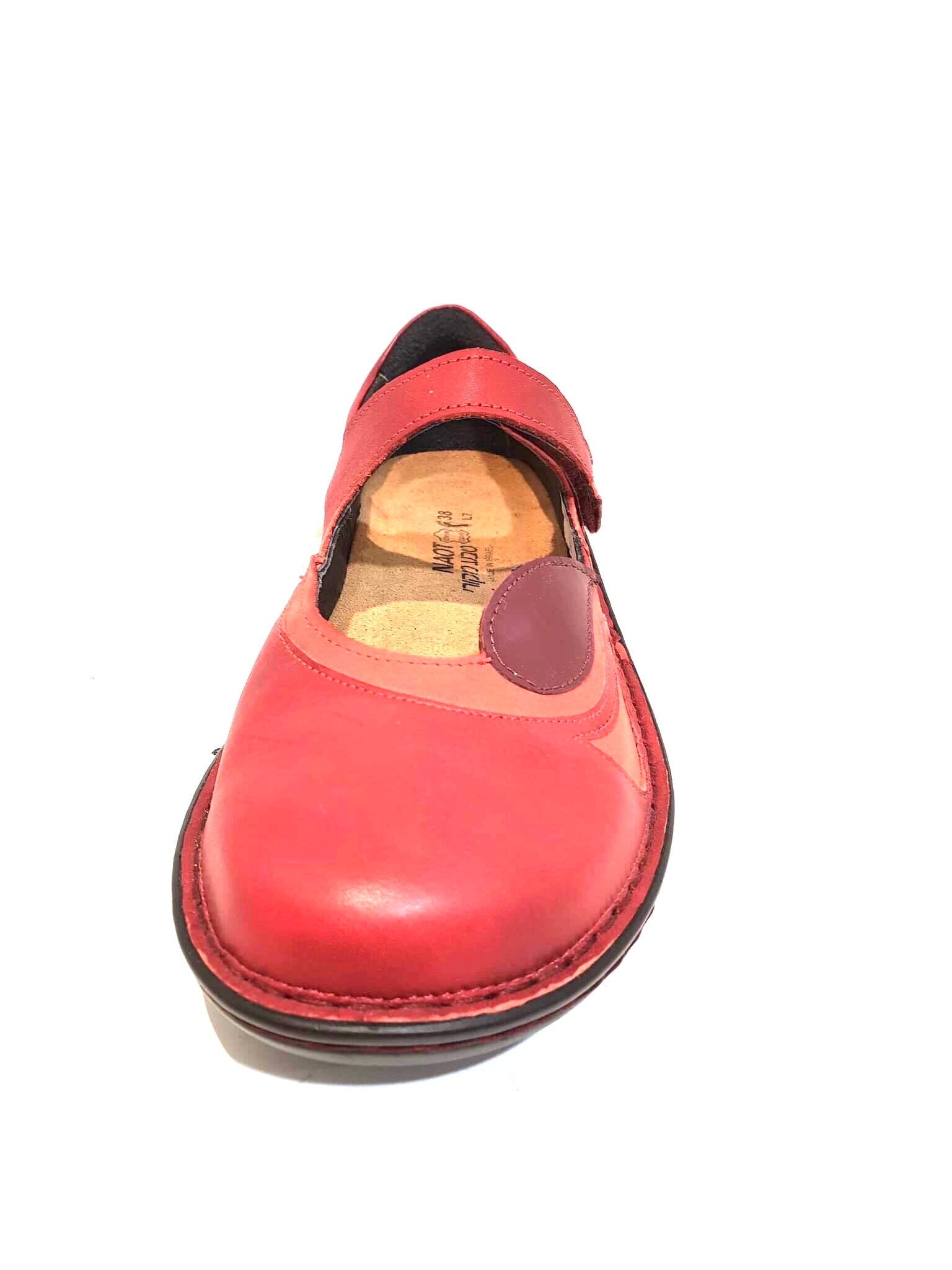Naot Conga Red Combo Leather Velcro Mary Janes Ladies Shoes Made In Israel