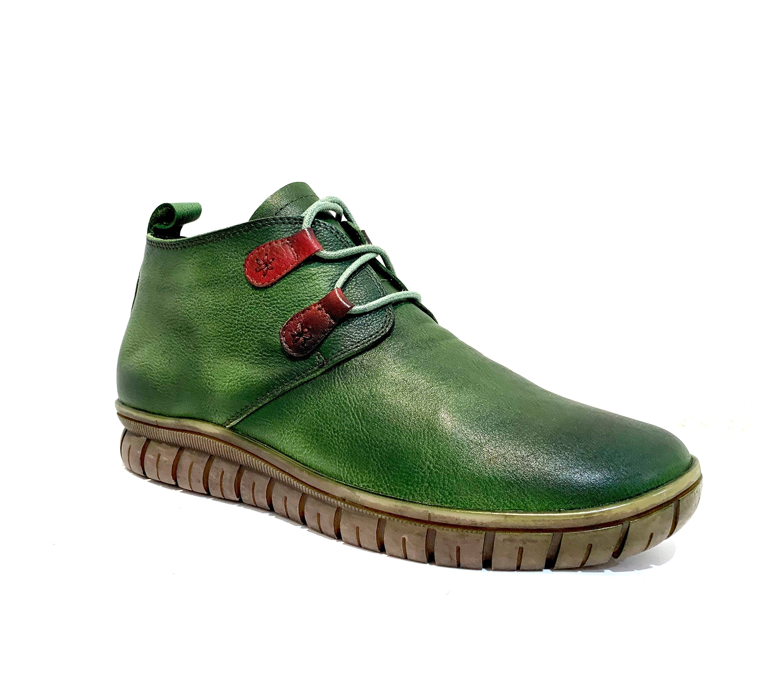 Minki Ladies Boots Forrest Green Bunt 2 Eyelet Lace Up
