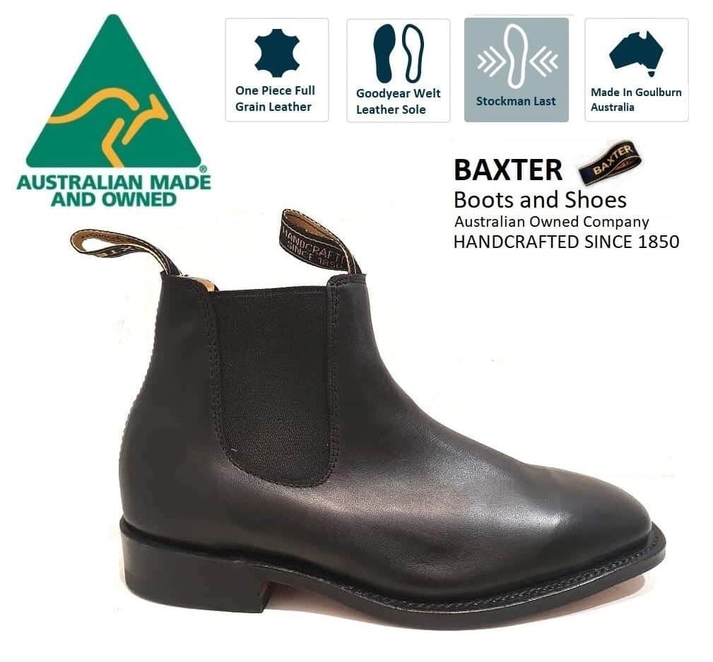 Baxter Henry Baxter Black One Piece Leather Sole Chelsea Boot Made In Australia