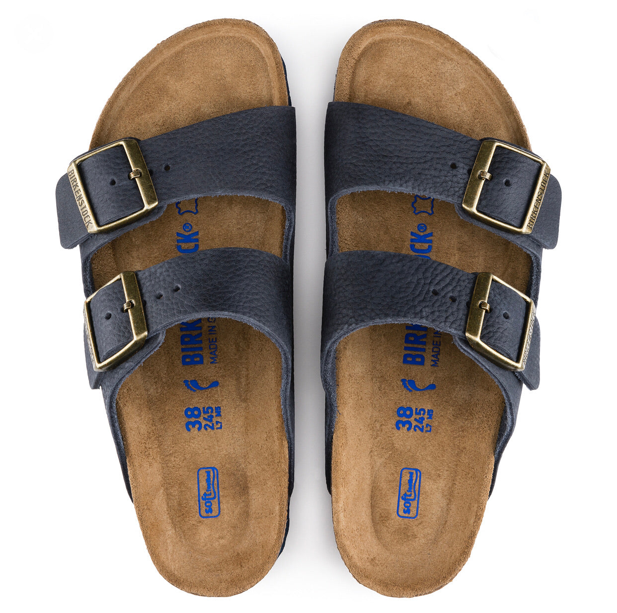 Birkenstock Arizona Steer Indigo Leather Soft Footbed Made In Germany
