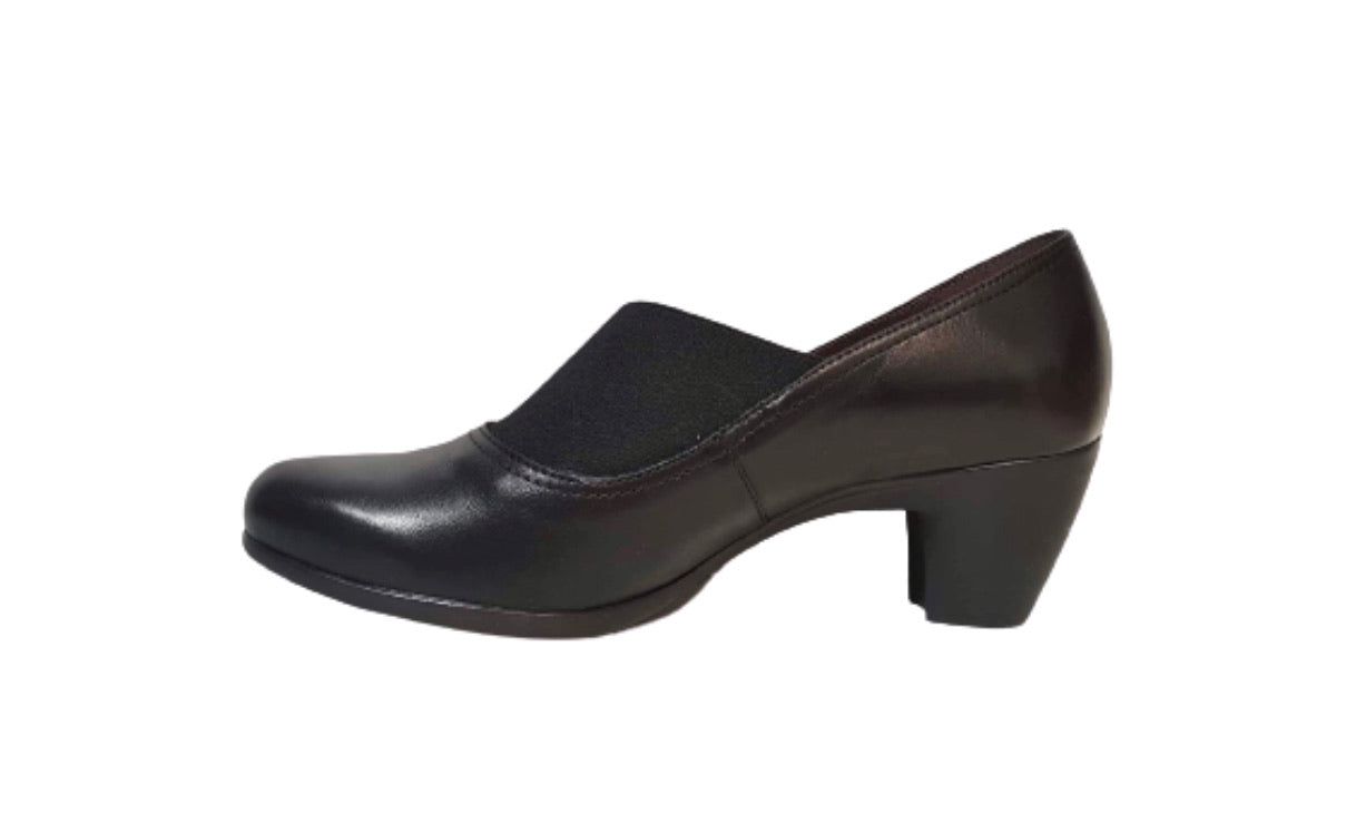 Wonders G-3680 Black Leather Court Shoe Made In Spain