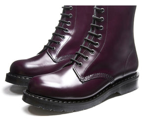 Solovair Purple Hi-Shine 8 Eyelet Boot Made In England