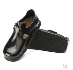 Birkenstock London Shiny Black Patent Leather Classic Footbed