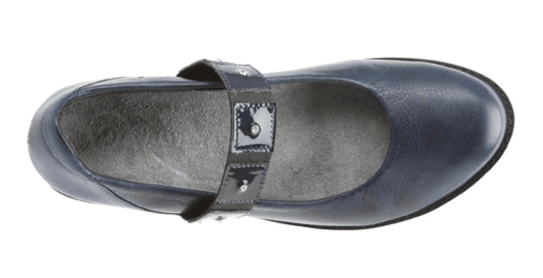 Naot Honesty Ink Navy Blue Leather Mary Jane Velcro Made In Israel