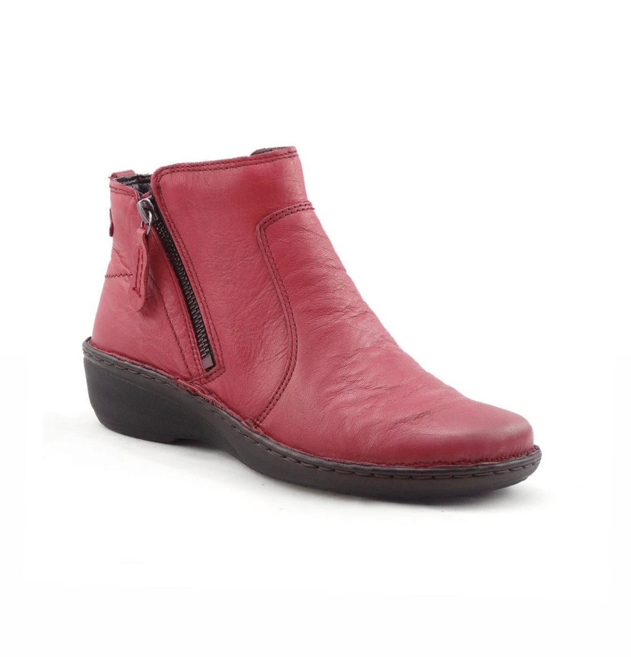 Relax Rosso Red 291-002 Double Zip Ankle Made In Albania