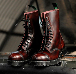 Solovair Burgundy Rub-Off Steel Toe 11 Eyelet Boot Made In England