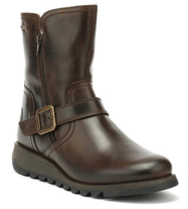 Fly London Ladies Boots Seku Dark Brown Zip Ankle Gore-Tex Made In Portugal