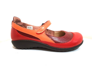 Naot Kirei Rumba Poppy Orange Leather Velcro Mary Janes Ladies Shoes Made In Israel
