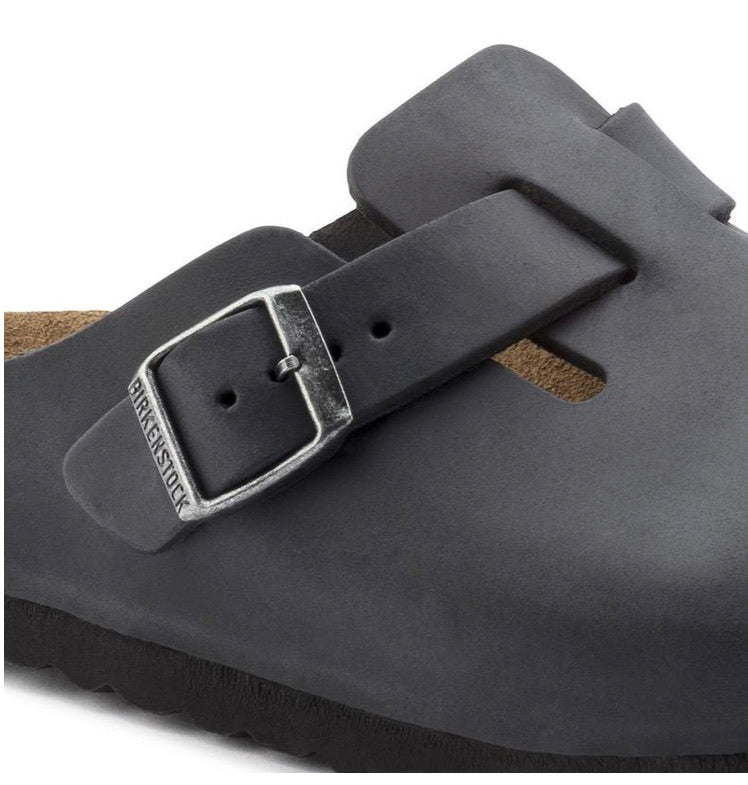 Birkenstock Boston Black Oiled Clog Made In Germany