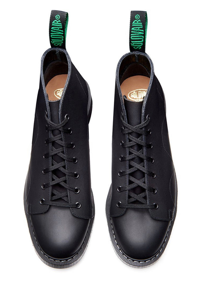Solovair Monkey Black Greasy 7 Eyelet Boot Made In England