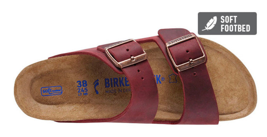 Birkenstock Arizona Zinfandel Oiled Leather Soft Footbed Made In Germany