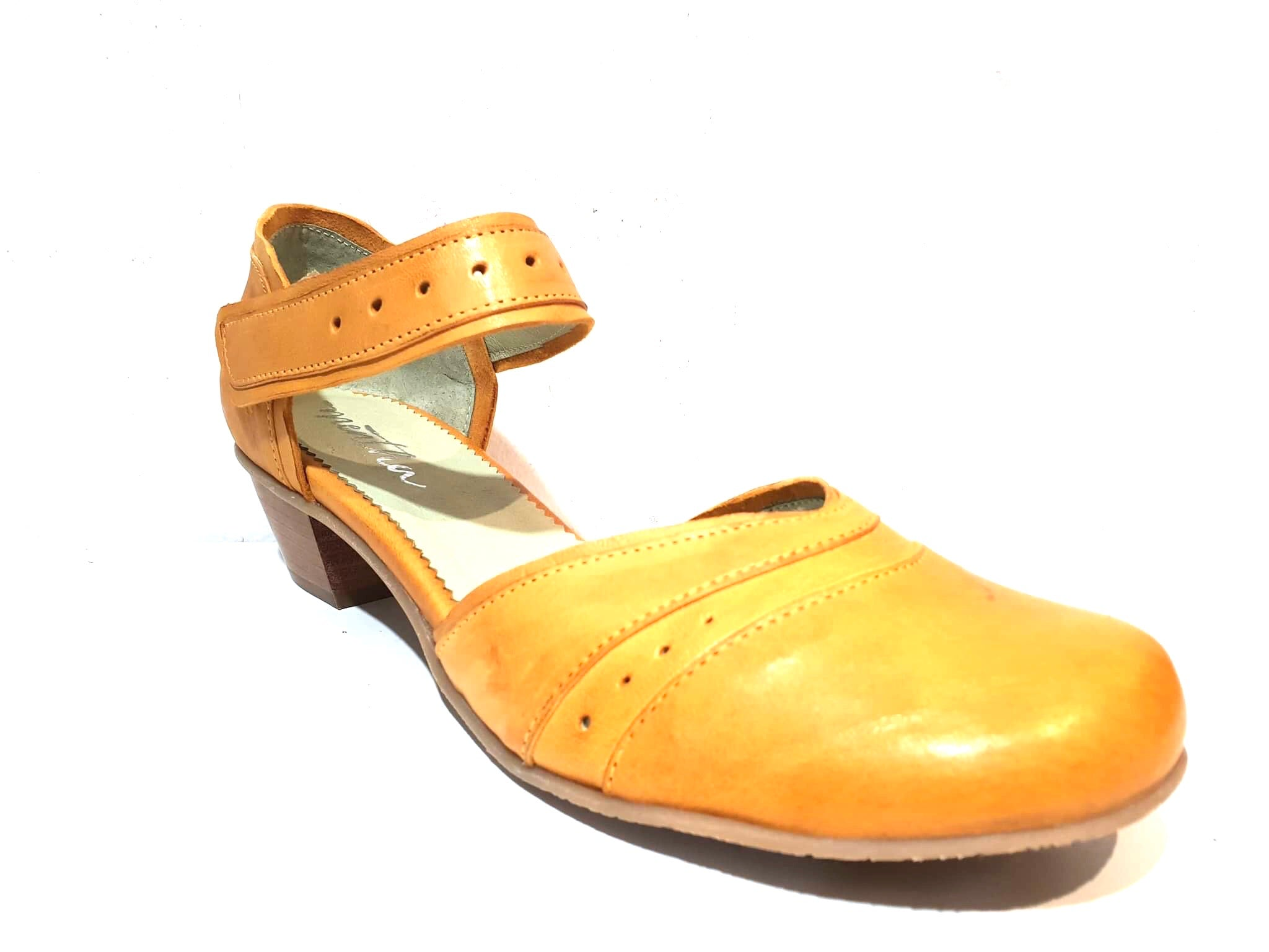 Mentha Andie Yellow Leather Women's Court Shoes Mary Jane Velcro Made In Portugal