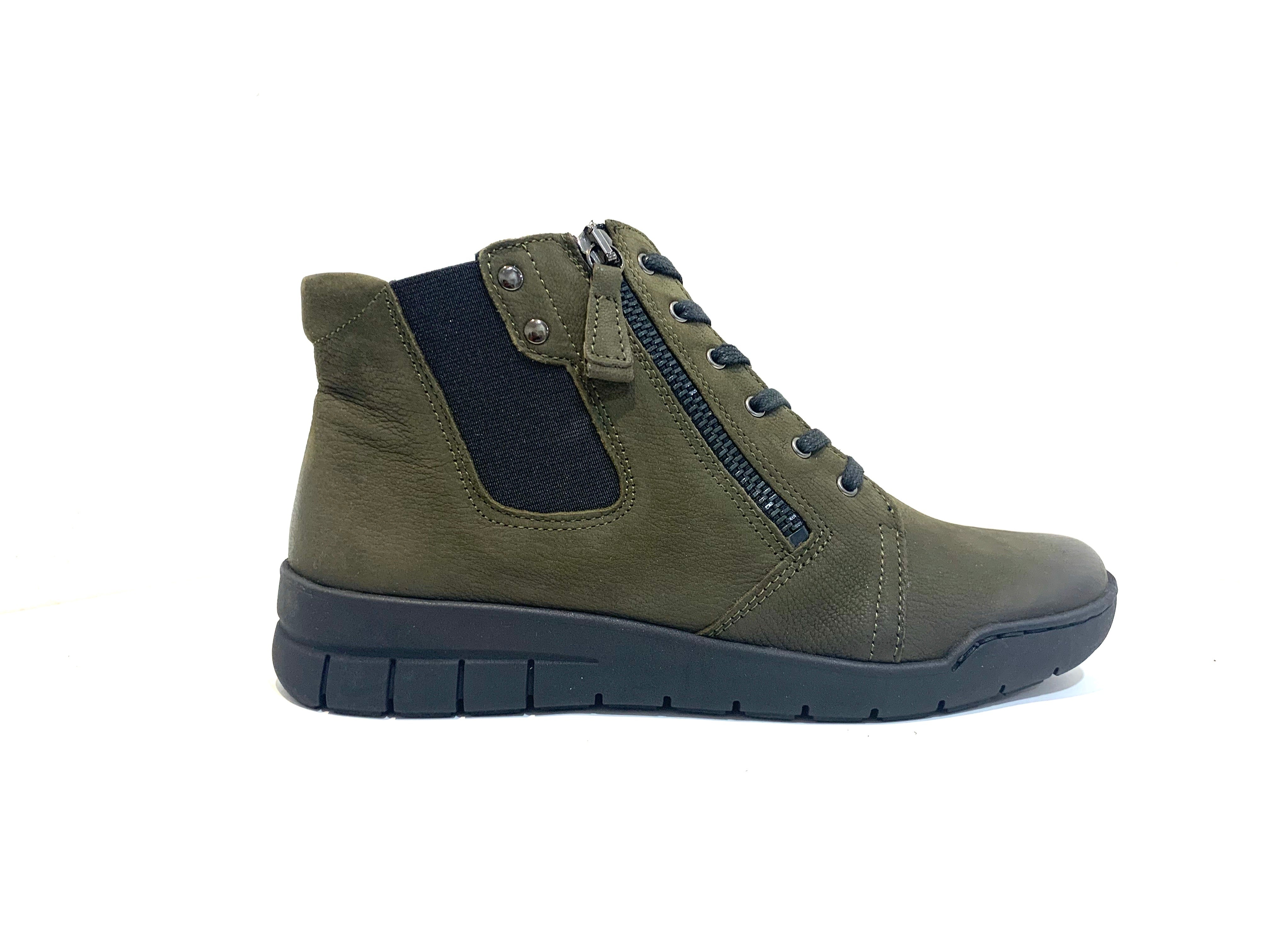 Relax Ladies Boots 290-104 Loden Olive Green Lace Up Zip Ankle Made In Bosnia