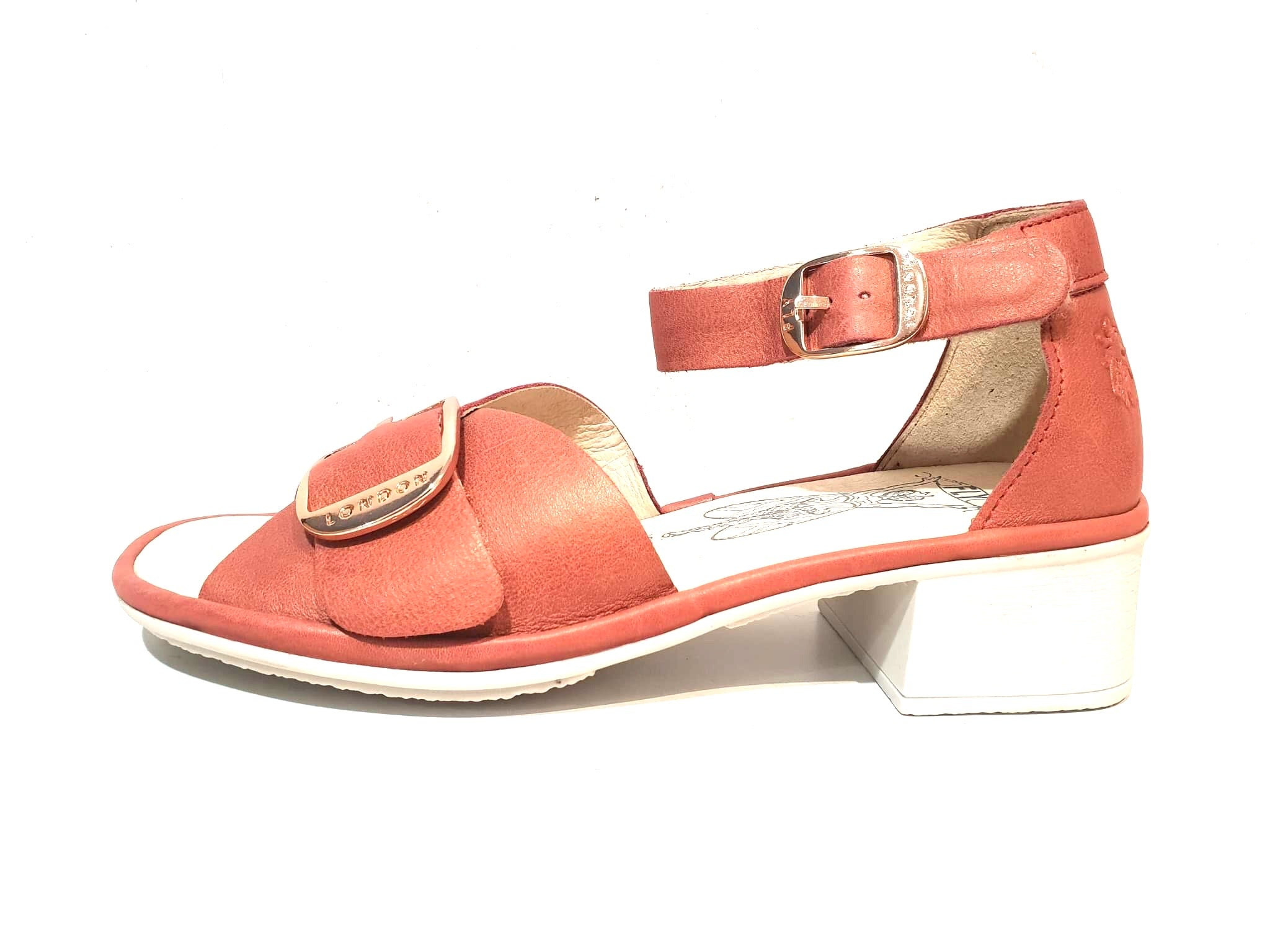 Fly London Eken018fly Janeda Raspberry Women's Leather Heels Sandals Made In Portugal