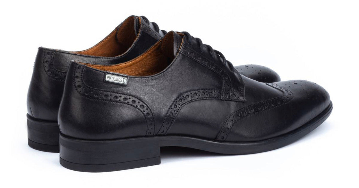 Pikolinos Black M7J-4186 Mens Brogue 4 Eyelet Lace Up Made In Spain