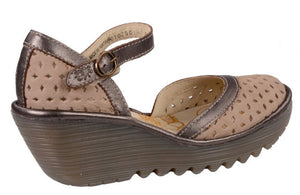 Fly London YVEN029FLY Cloud/Bronze Cupi/Idra Women's Wedges Sandals Made In Portugal