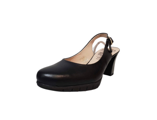 Wonders I-6052 Black Negro Leather Court Shoe Made In Spain