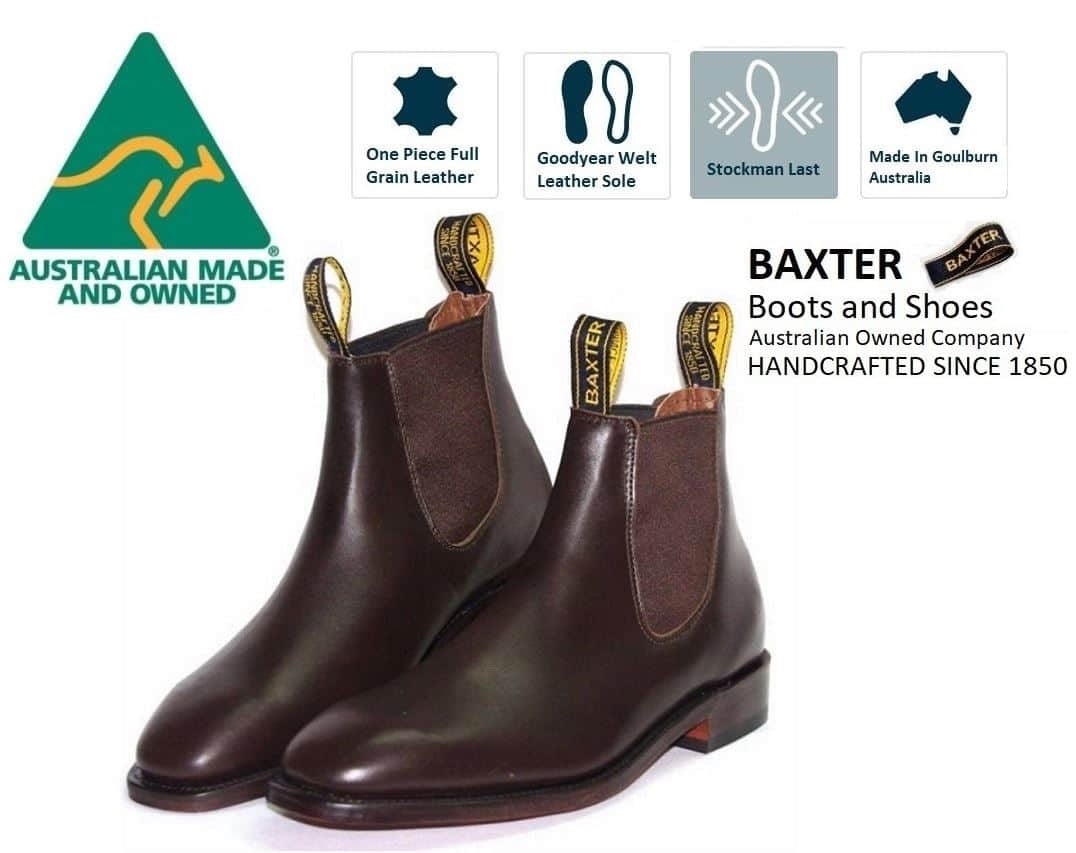 Baxter Henry Baxter Mahogany Brown One Piece Leather Sole Chelsea Boot Made In Australia