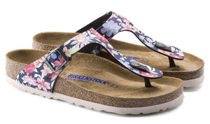 Birkenstock Gizeh Navy Supernatural Flowers Soft Footbed Birko-Flor Made In Germany