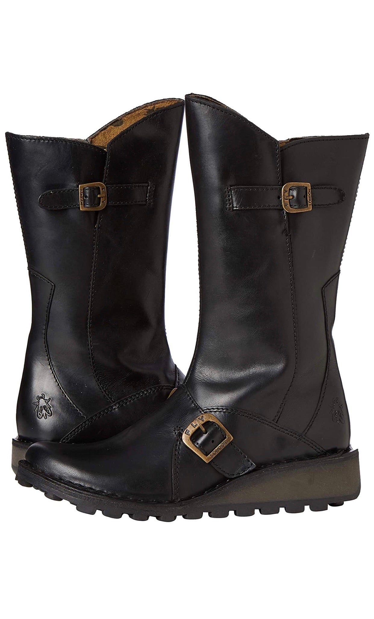 Fly London Ladies Boots Mes 2 Black Zip Mid Calf Boots Made In Portugal