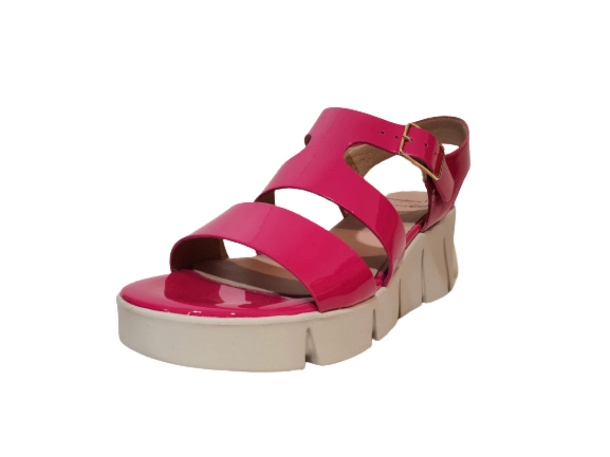 Wonders D-8004 Pink Patent Leather Wedge Made In Spain