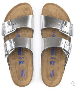 Birkenstock Arizona Metallic Silver Leather Soft Footbed Made In Germany