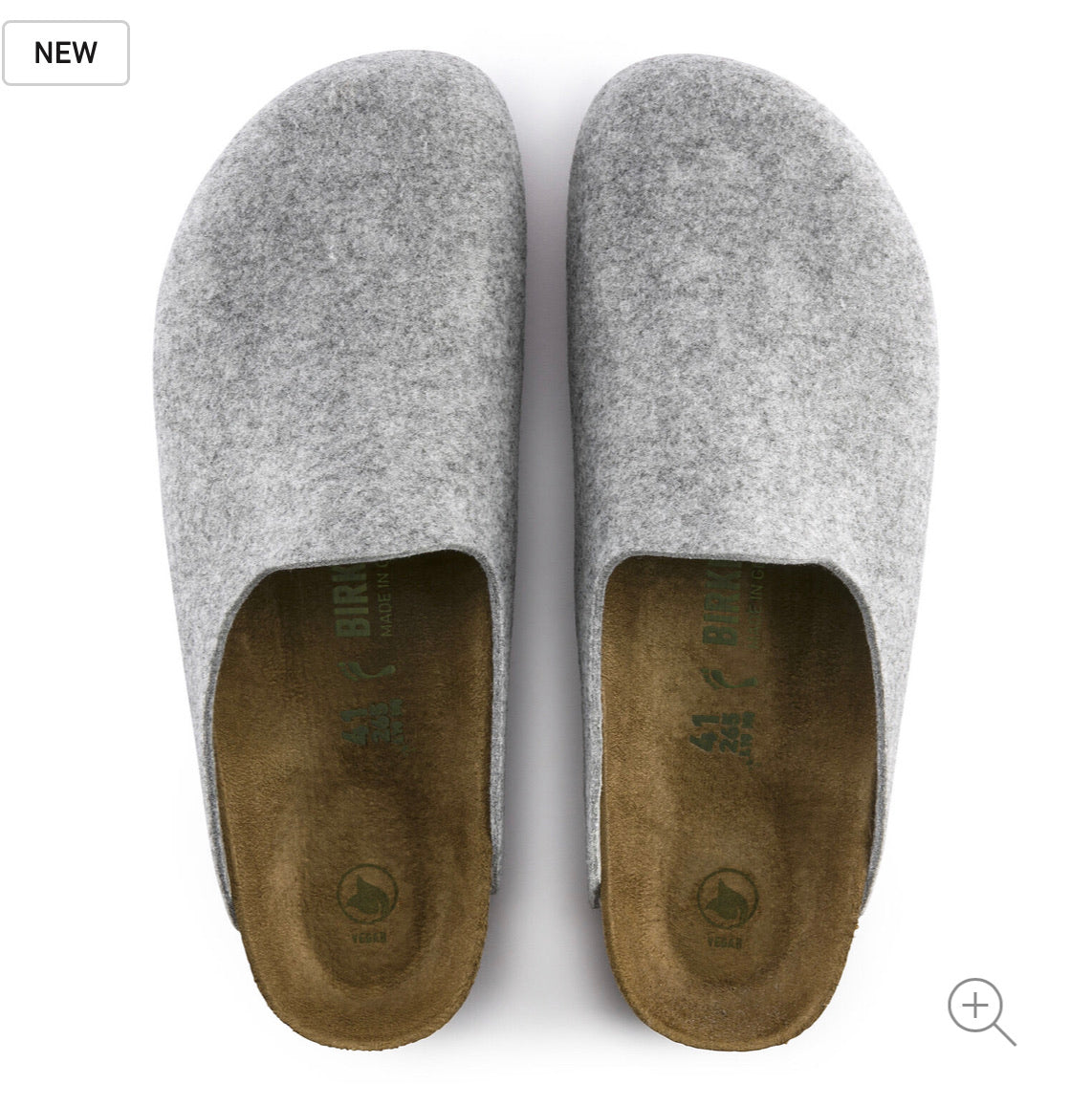 Birkenstock Amsterdam Vegan Light Grey Felt Clog Made In Germany