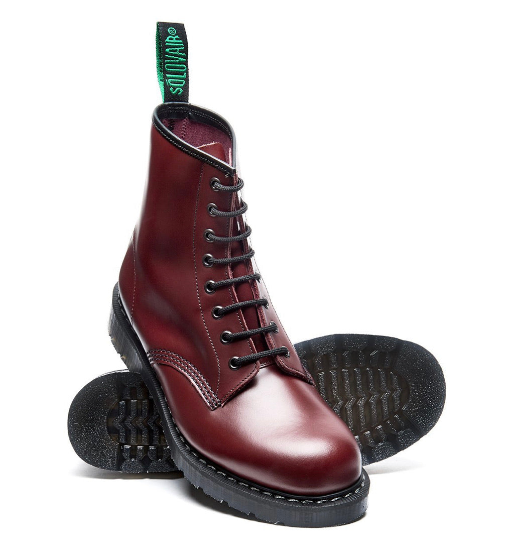 Solovair Oxblood Hi-Shine 8 Eyelet Boot Made In England