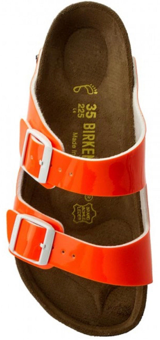 Birkenstock Arizona Patent Neon Orange Made In Germany