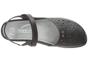 Naot Arataki Black Raven Leather Ladies Sandals Made In Israel
