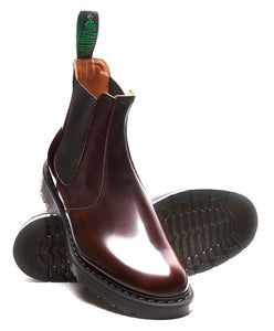 Solovair Burgundy Rub-Off Hi-Shine Dealer Ankle Elastic Sided Boot Made In England