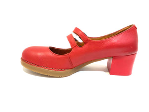 Art 0074 Carmin Red 2 Strap Court Shoe Made In Spain