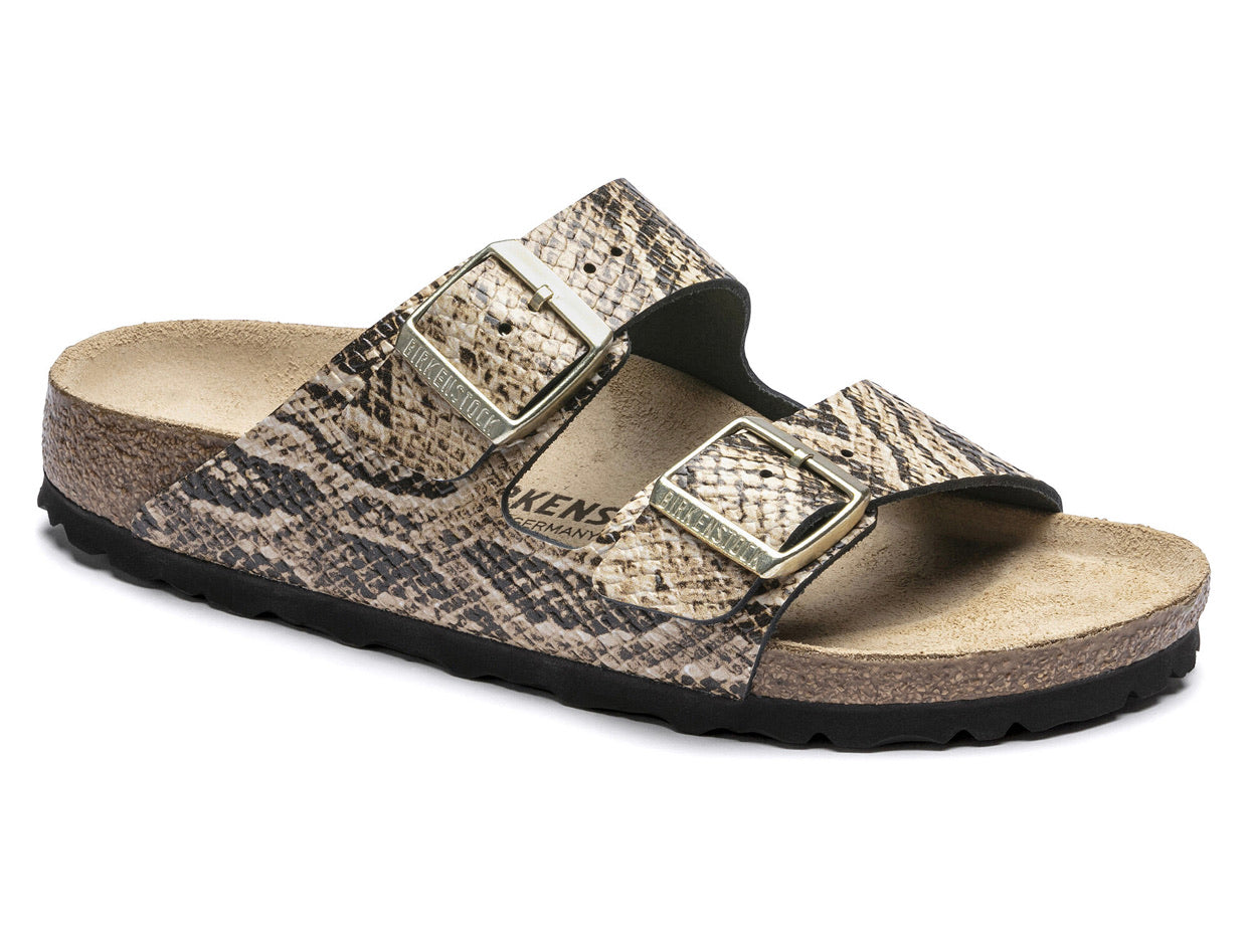 Birkenstock Arizona Snake Beige Leather Made In Germany