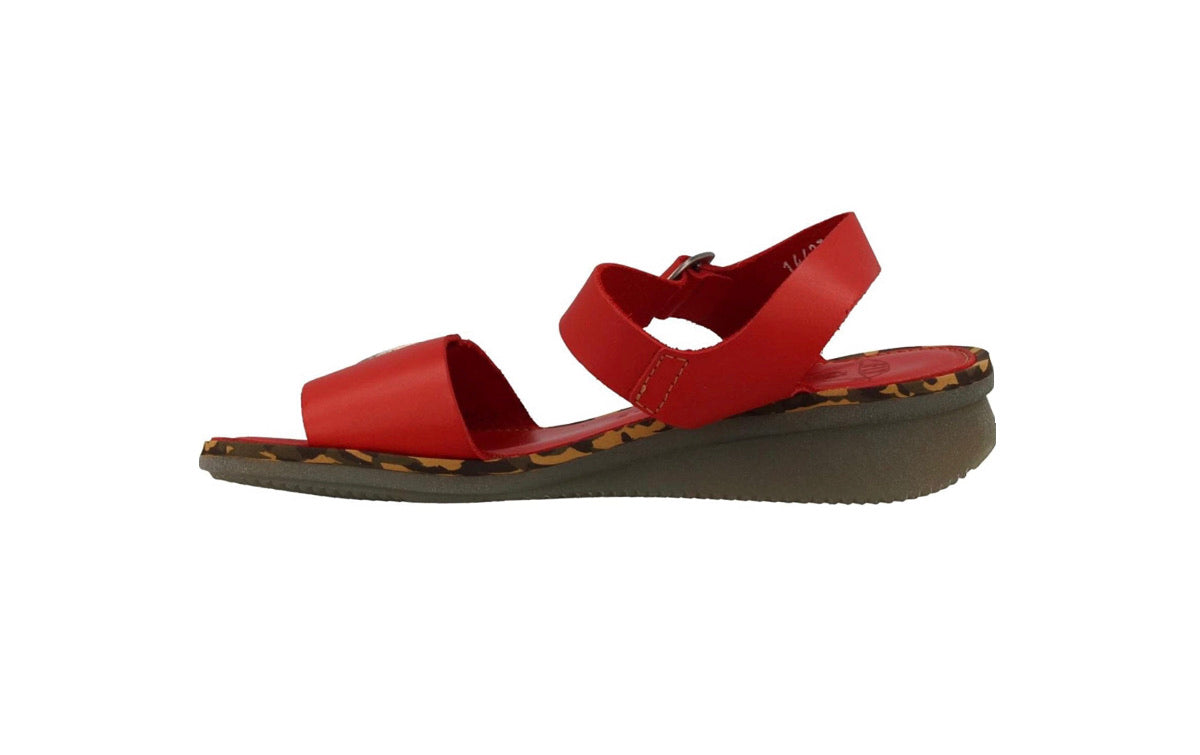 Fly London Comb230Fly Scarlet Women's Wedges Open Toe Sandals Made In Portugal