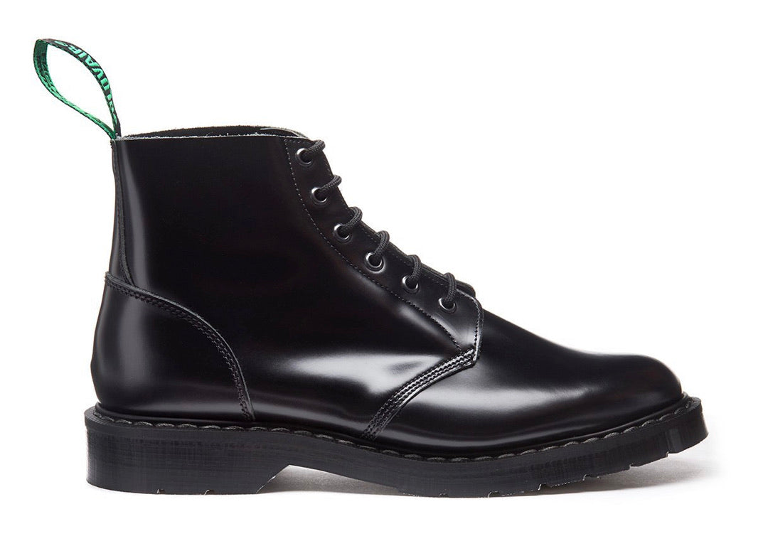 Solovair Black Hi-Shine Astronaut 6 Eyelet Boot Made In England