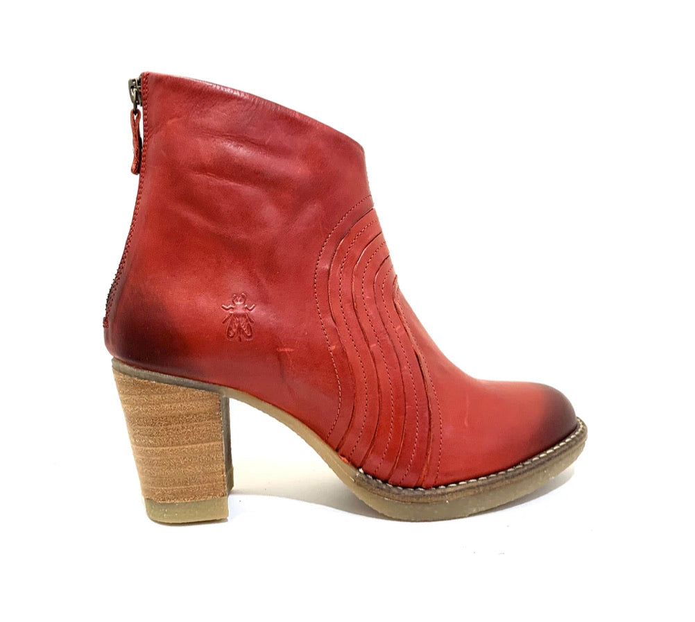Fly London Hula Red Back Zip Ankle Made In Portugal
