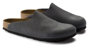 Birkenstock Amsterdam Anthracite Leather Steer Clog Made In Germany