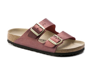 Birkenstock Arizona Washed Metallic Port Suede Leather Made In Germany